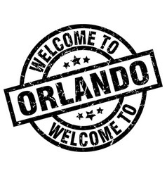 welcome to orlando black stamp vector image vector image