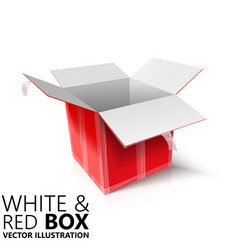 White and red open box 3d design vector