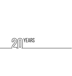 20 years anniversary or birthday linear outline vector image