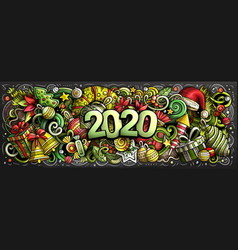2020 doodles horizontal new year vector image