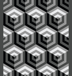 3d seamless pattern with gray hexagons ornament vector image