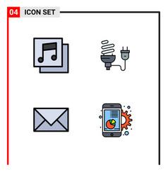 4 user interface filledline flat color pack of vector