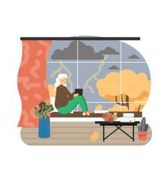 Autumn season senior woman sitting window vector
