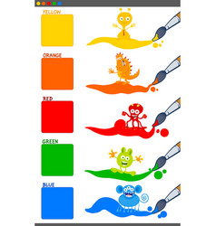 basic colors set with cartoon fantasy creatures vector image