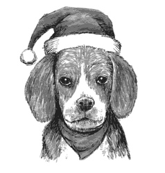beagle with christmas hat vector image