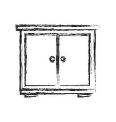 bedside table wood furniture sketch vector image