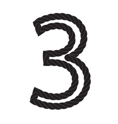 Black and white number three made from rope vector
