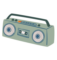 boombox magnetophone with handle and loudspeaker vector image