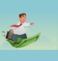 Businessman flying off money carpet vector