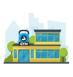 Cartoon gym fitness building vector