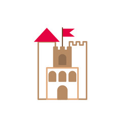 castle with flag fantasy line fill style vector image