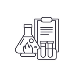 chemical experiments line icon concept chemical vector image