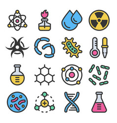chemistry science details colorful icon set vector image