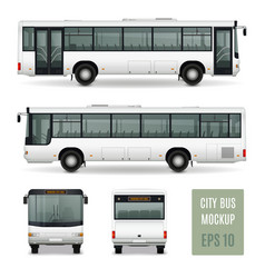 City bus realistic advertising template vector