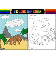 coloring book with triceratops cartoon vector image