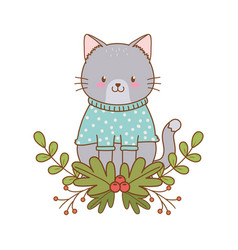 cute cat woodland character vector image