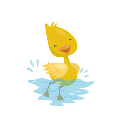 Cute little yellow duckling character swimming in vector