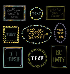Doodle frames with text - hand drawn vector