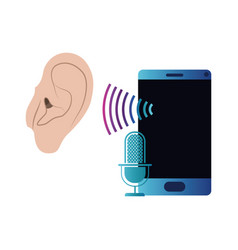 ear with sound wave and smartphone vector image