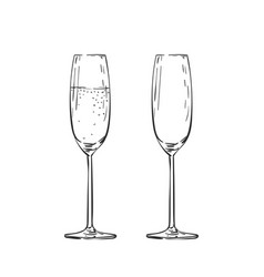Empty and full champagne glass drawing isolated vector