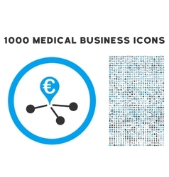 euro bank branches icon with 1000 medical business vector image