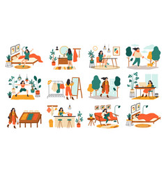 Everyday woman routine female daily activities vector