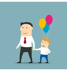 Father and son with balloons walking holding hands vector