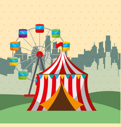 Ferris wheel tent city carnival fun fair festival vector