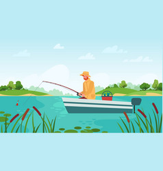 fisherman fishing man in boat with fishing rod vector image