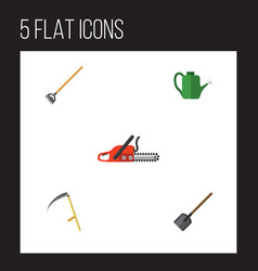 flat icon dacha set of hacksaw bailer shovel and vector image