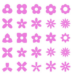 Flower simple shape icon set vector