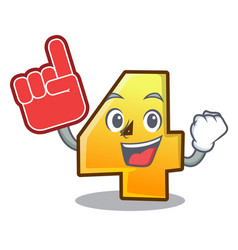 foam finger number four isolated on the mascot vector image