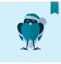 Funny Bird Bullfinch in Christmas Cap vector image