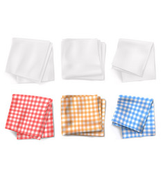 gingham tablecloths and white kitchen towels vector image