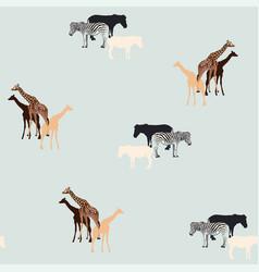giraffe and zebra on light vintage background vector image