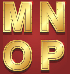 Gold letters alphabet font style M N O P vector image