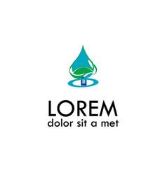 Green drop water logo vector