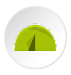 green touristic camping tent icon circle vector image