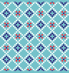 Grid geometric seamless blue pattern pixel blocks vector