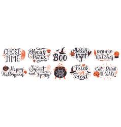 halloween lettering quotes handwritten halloween vector image
