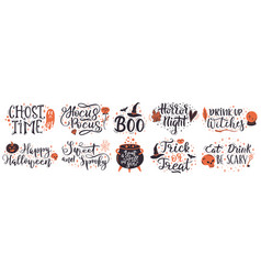 halloween lettering quotes handwritten vector image