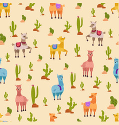 Hand drawn seamless pattern with cute lama vector