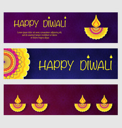 happy diwali banners vector image