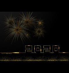 happy new year 2020 gold fireworks background vector image