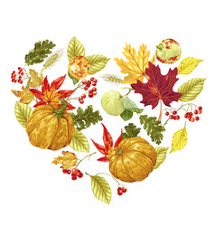 Heart shape decorative element in for harvest vector