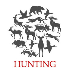 hunting sport poster forest and african animal vector image