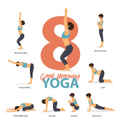 Infographic 8 yoga poses for after wake up vector