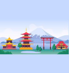 Japan landscape with mountain fuji landmarks vector