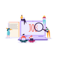 Job search candidate concept characters laptop vector