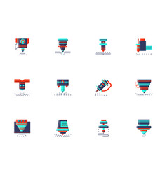 Lasers flat color icons collection vector